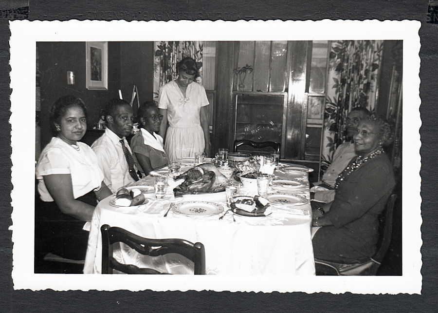 Attractive 1950's african american family at thanksgiving dinner vintage  MF05